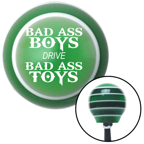 White Bad Ass Boys Drive Bad Ass Toys Green Stripe Shift Knob with M16 x 15 Insert - American Shifter - Dropship Direct Wholesale