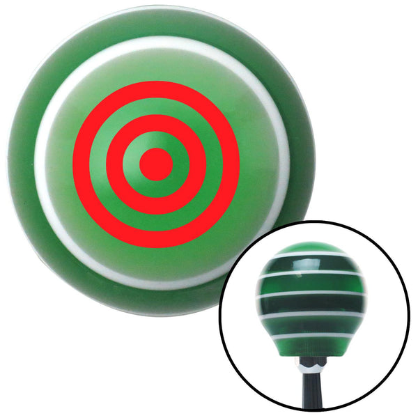 Red Bulls Eye Green Stripe Shift Knob with M16 x 15 Insert - American Shifter - Dropship Direct Wholesale