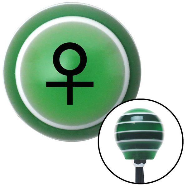 Black Female Green Stripe Shift Knob with M16 x 15 Insert - American Shifter - Dropship Direct Wholesale