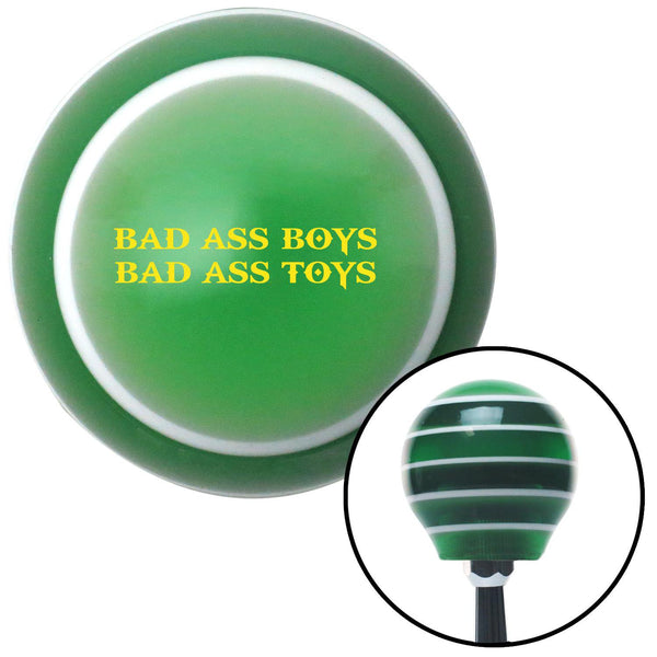 Yellow Bad Ass Boys Bad Ass Toys Green Stripe Shift Knob with M16 x 15 Insert - American Shifter - Dropship Direct Wholesale