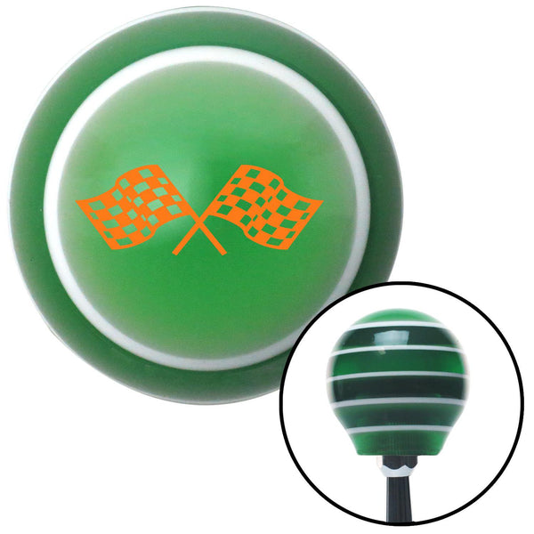 Orange Dual Racing Flags Green Stripe Shift Knob with M16 x 15 Insert - American Shifter - Dropship Direct Wholesale