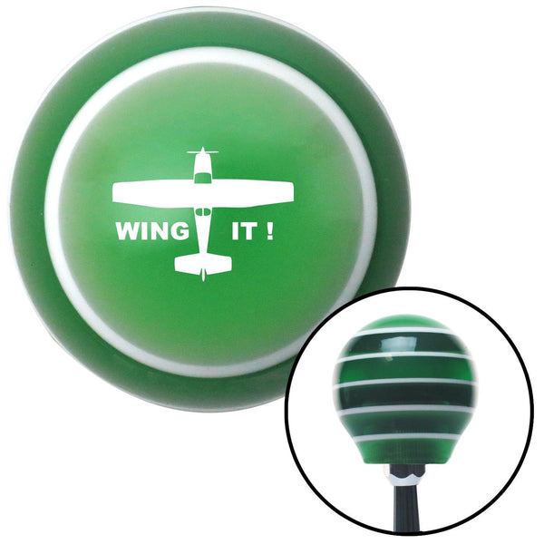 White Wing It Green Stripe Shift Knob with M16 x 15 Insert - American Shifter - Dropship Direct Wholesale