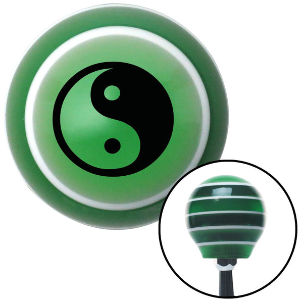 Black Yin  Yang Green Stripe Shift Knob with M16 x 15 Insert - American Shifter - Dropship Direct Wholesale