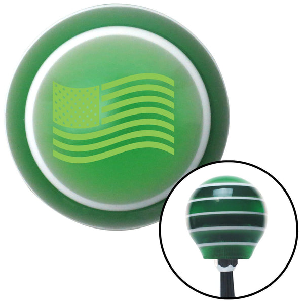 Green US Flag Green Stripe Shift Knob with M16 x 15 Insert - American Shifter - Dropship Direct Wholesale