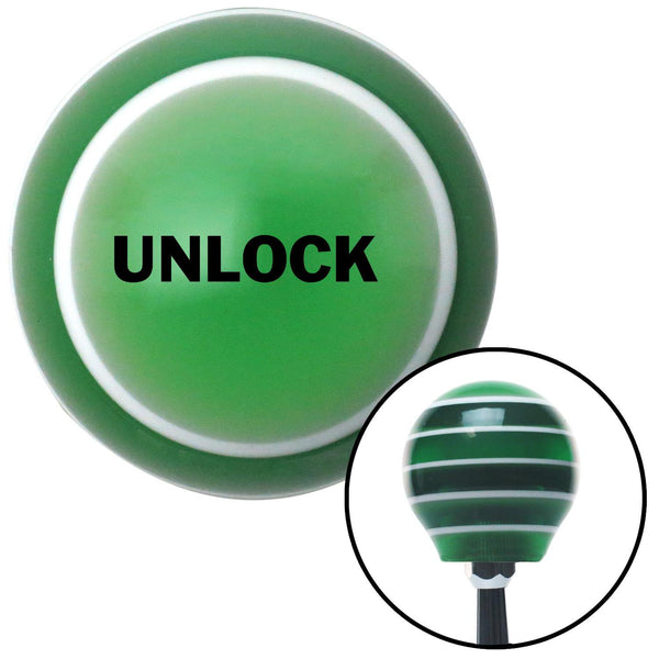 Black UNLOCK Green Stripe Shift Knob with M16 x 15 Insert - American Shifter - Dropship Direct Wholesale