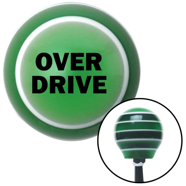 Black OVERDRIVE Green Stripe Shift Knob with M16 x 15 Insert - American Shifter - Dropship Direct Wholesale
