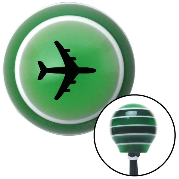 Black Commercial Airplane Green Stripe Shift Knob with M16 x 15 Insert - American Shifter - Dropship Direct Wholesale