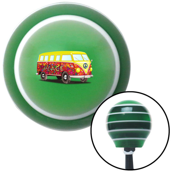 Hippie Bus Green Stripe Shift Knob with M16 x 15 Insert - American Shifter - Dropship Direct Wholesale