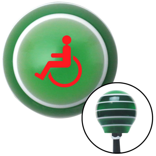 Red Wheelchair Green Stripe Shift Knob with M16 x 15 Insert - American Shifter - Dropship Direct Wholesale