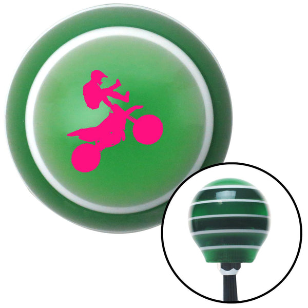 Pink Motocross Rider Green Stripe Shift Knob with M16 x 15 Insert - American Shifter - Dropship Direct Wholesale
