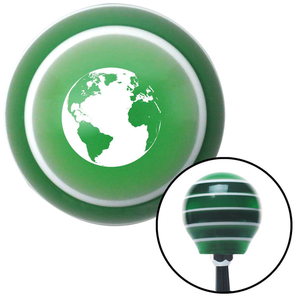 White World Green Stripe Shift Knob with M16 x 15 Insert - American Shifter - Dropship Direct Wholesale