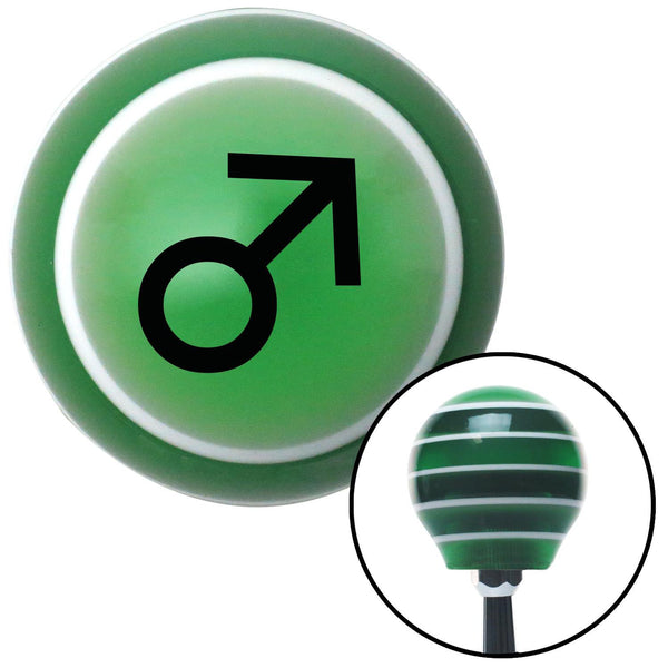 Black Male Green Stripe Shift Knob with M16 x 15 Insert - American Shifter - Dropship Direct Wholesale