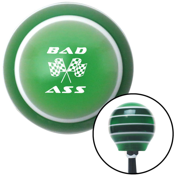 White Bad Ass Flags Green Stripe Shift Knob with M16 x 15 Insert - American Shifter - Dropship Direct Wholesale