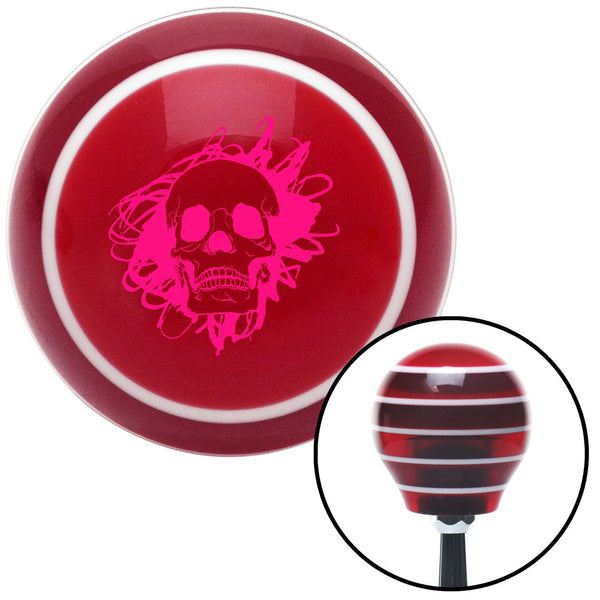 Pink Skull in a Mess Red Stripe Shift Knob with M16 x 15 Insert - American Shifter - Dropship Direct Wholesale