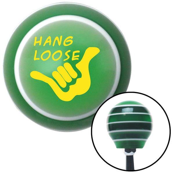 Yellow Hang Loose Green Stripe Shift Knob with M16 x 15 Insert - American Shifter - Dropship Direct Wholesale