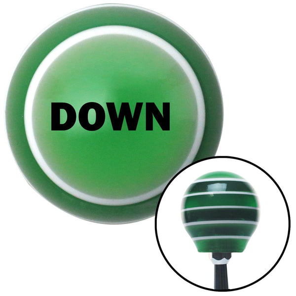 Black DOWN Green Stripe Shift Knob with M16 x 15 Insert - American Shifter - Dropship Direct Wholesale