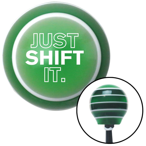 White Just Shift It Green Stripe Shift Knob with M16 x 15 Insert - American Shifter - Dropship Direct Wholesale