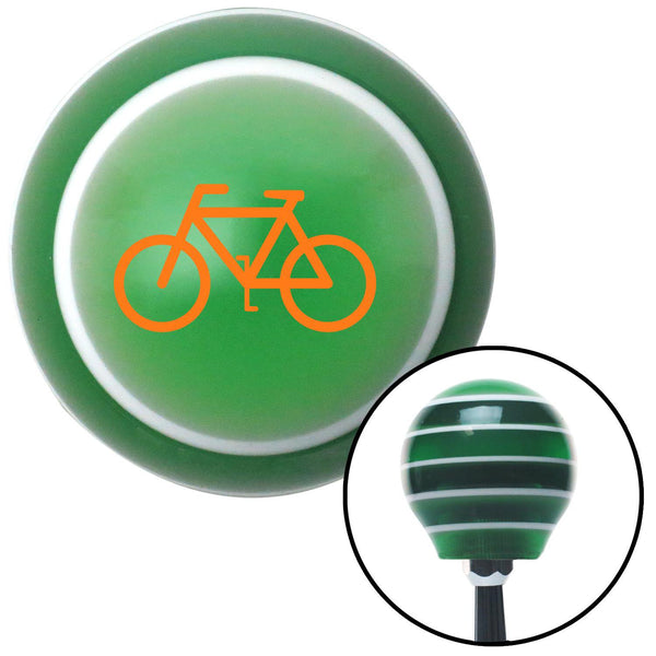 Orange Bicycle Green Stripe Shift Knob with M16 x 15 Insert - American Shifter - Dropship Direct Wholesale