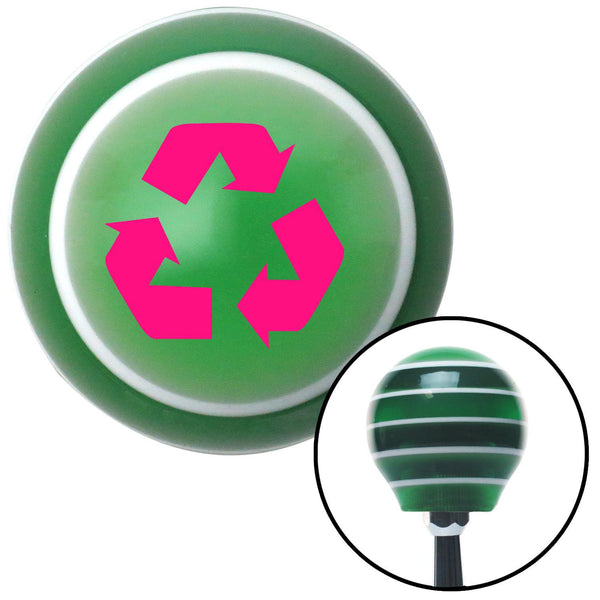 Pink Recycle Green Stripe Shift Knob with M16 x 15 Insert - American Shifter - Dropship Direct Wholesale