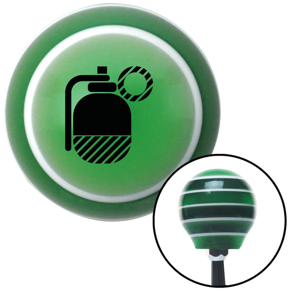 Black Grenade w Pin Green Stripe Shift Knob with M16 x 15 Insert - American Shifter - Dropship Direct Wholesale