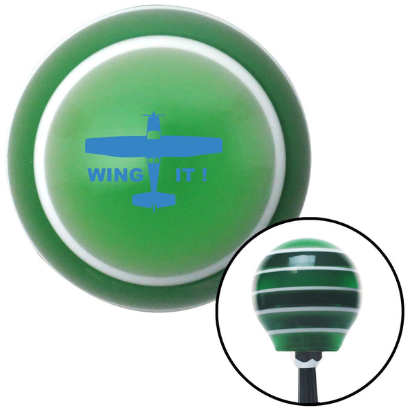 Blue Wing It Green Stripe Shift Knob with M16 x 15 Insert - American Shifter - Dropship Direct Wholesale