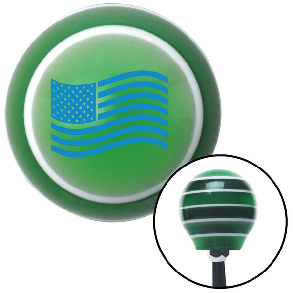 Blue US Flag Green Stripe Shift Knob with M16 x 15 Insert - American Shifter - Dropship Direct Wholesale