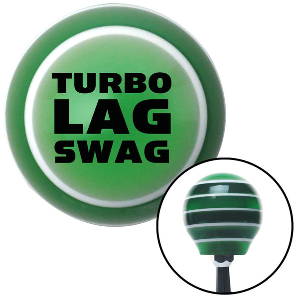 Black Turbo Lag Swag Green Stripe Shift Knob with M16 x 15 Insert - American Shifter - Dropship Direct Wholesale