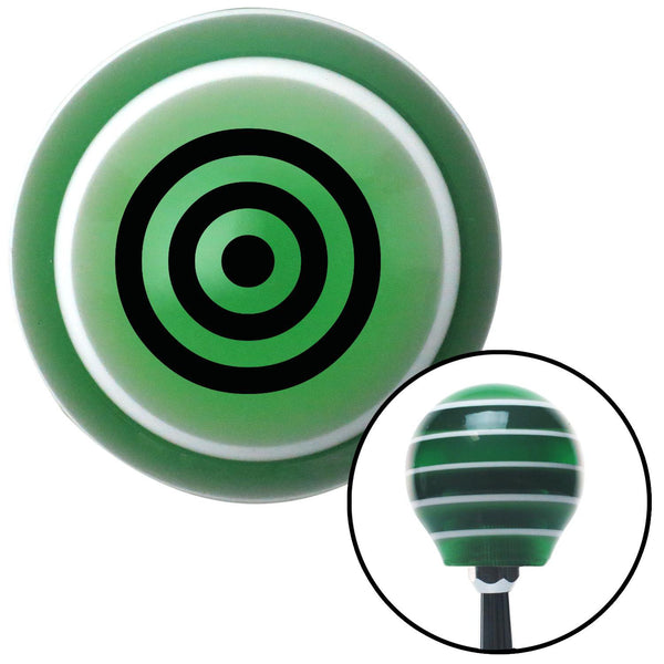 Black Bulls Eye Green Stripe Shift Knob with M16 x 15 Insert - American Shifter - Dropship Direct Wholesale