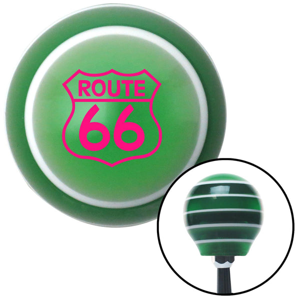 Pink Route 66 Sign Green Stripe Shift Knob with M16 x 15 Insert - American Shifter - Dropship Direct Wholesale