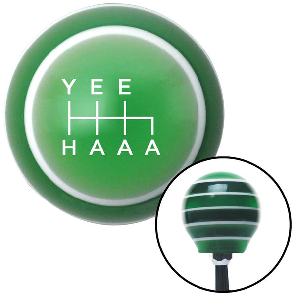 White Yee Haaa Green Stripe Shift Knob with M16 x 15 Insert - American Shifter - Dropship Direct Wholesale