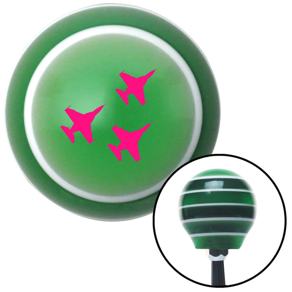 Pink Jet Formation Green Stripe Shift Knob with M16 x 15 Insert - American Shifter - Dropship Direct Wholesale