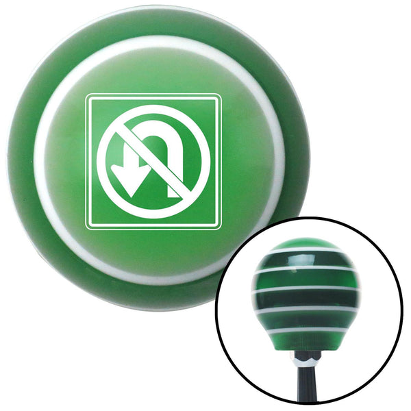 White No UTurn Green Stripe Shift Knob with M16 x 15 Insert - American Shifter - Dropship Direct Wholesale