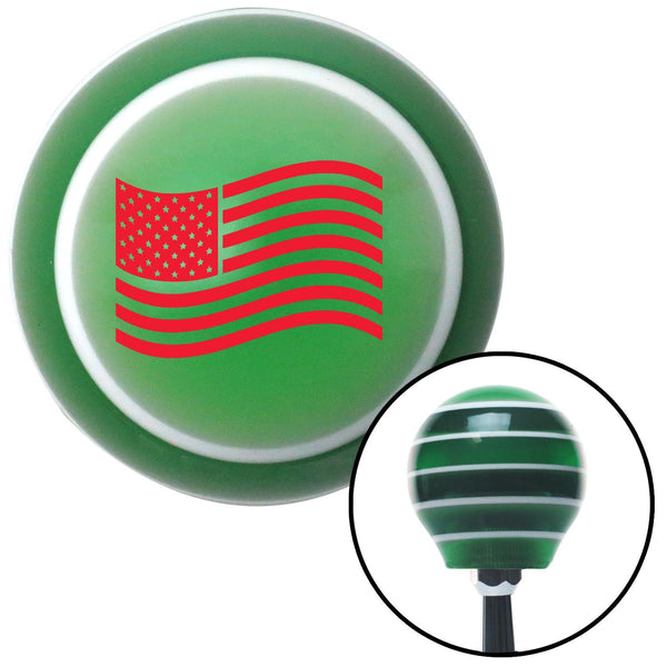 Red US Flag Green Stripe Shift Knob with M16 x 15 Insert - American Shifter - Dropship Direct Wholesale