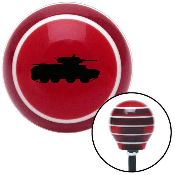 Black Military Tank Red Stripe Shift Knob with M16 x 15 Insert - American Shifter - Dropship Direct Wholesale