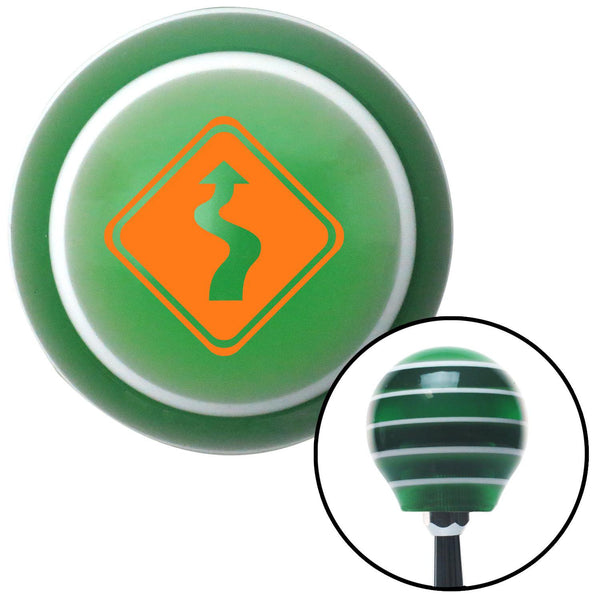 Orange Curvy Road Green Stripe Shift Knob with M16 x 15 Insert - American Shifter - Dropship Direct Wholesale