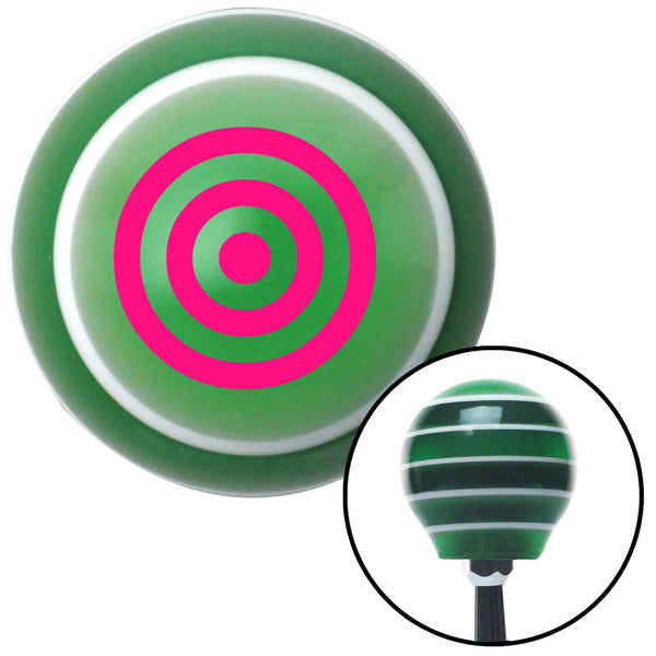 Pink Bulls Eye Green Stripe Shift Knob with M16 x 15 Insert - American Shifter - Dropship Direct Wholesale