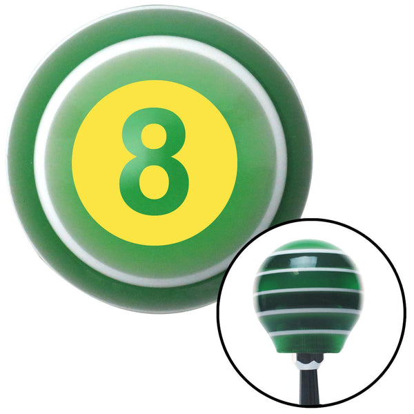 Yellow 8 Ball Green Stripe Shift Knob with M16 x 15 Insert - American Shifter - Dropship Direct Wholesale