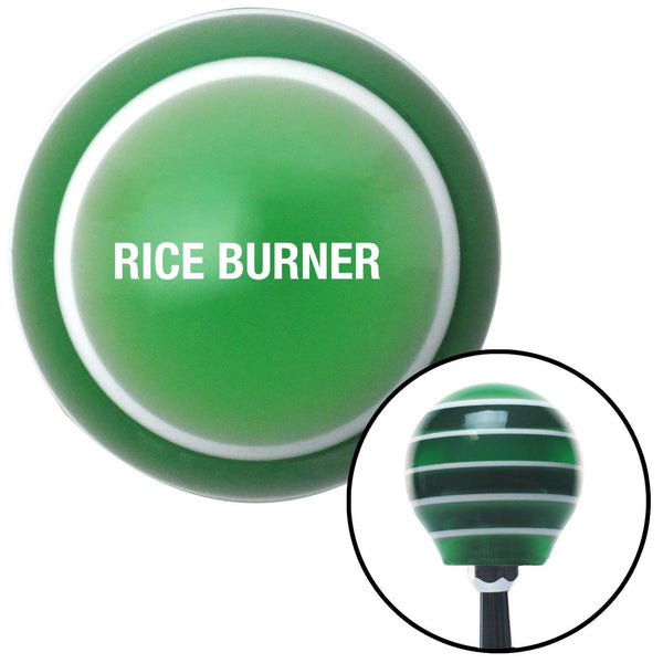 White Rice Burner Green Stripe Shift Knob with M16 x 15 Insert - American Shifter - Dropship Direct Wholesale