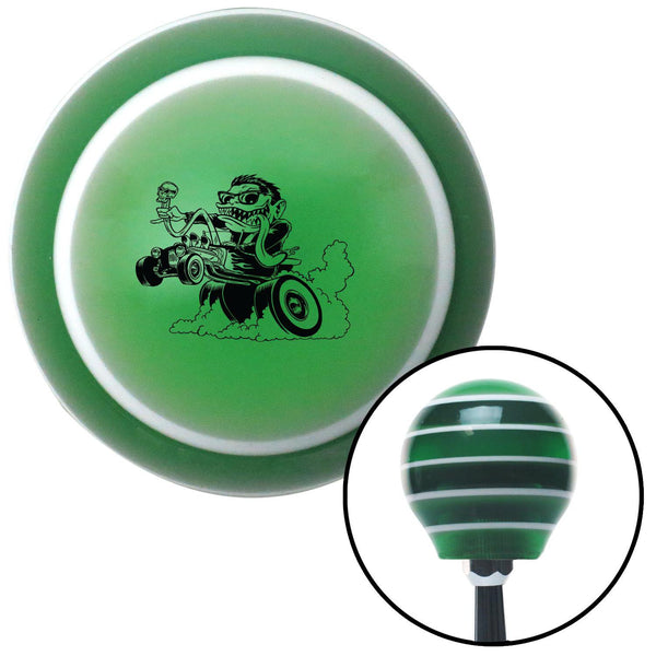 Black Hot Rodder Green Stripe Shift Knob with M16 x 15 Insert - American Shifter - Dropship Direct Wholesale