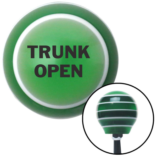 Black TRUNK OPEN Green Stripe Shift Knob with M16 x 15 Insert - American Shifter - Dropship Direct Wholesale