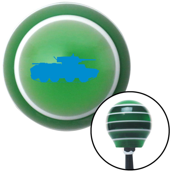 Blue Military Tank Green Stripe Shift Knob with M16 x 15 Insert - American Shifter - Dropship Direct Wholesale