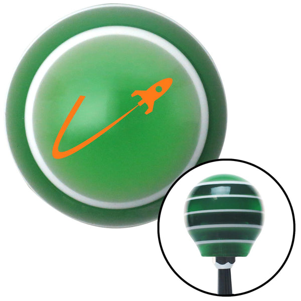 Orange Space Ship In Flight Green Stripe Shift Knob with M16 x 15 Insert - American Shifter - Dropship Direct Wholesale