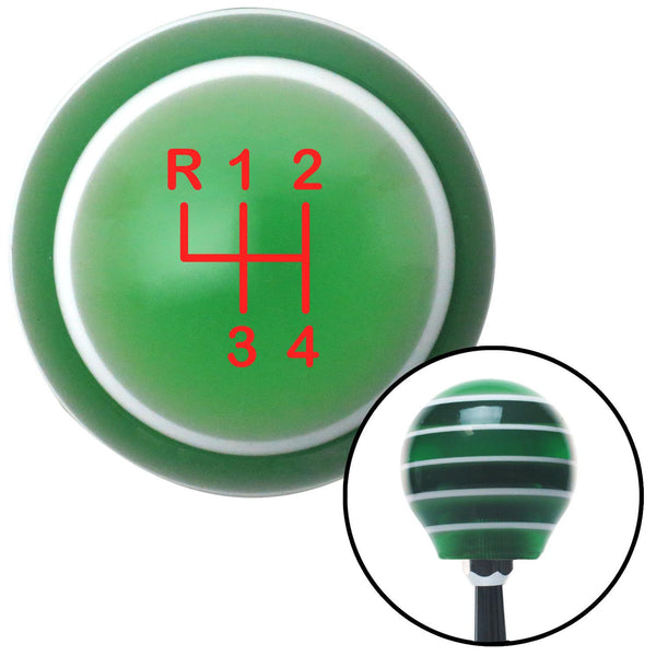 Red Shift Pattern 44n Green Stripe Shift Knob with M16 x 15 Insert - American Shifter - Dropship Direct Wholesale