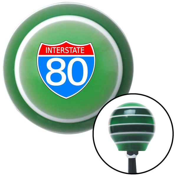 Route 80 Green Stripe Shift Knob with M16 x 15 Insert - American Shifter - Dropship Direct Wholesale