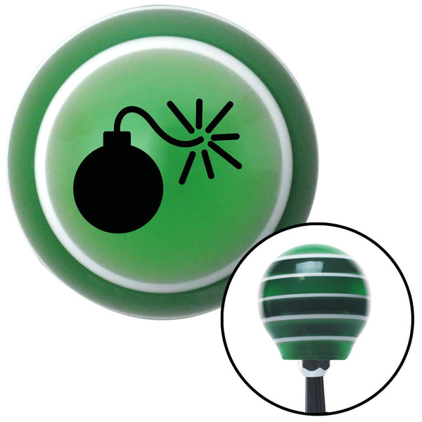 Black Bomb w Fuse Lit Green Stripe Shift Knob with M16 x 15 Insert - American Shifter - Dropship Direct Wholesale