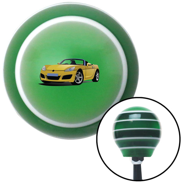 Yellow Convertible Green Stripe Shift Knob with M16 x 15 Insert - American Shifter - Dropship Direct Wholesale