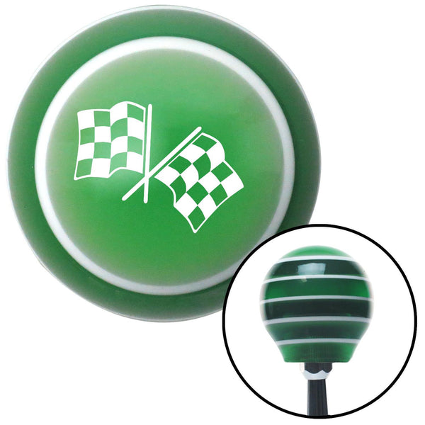 White Checkered Flags Green Stripe Shift Knob with M16 x 15 Insert - American Shifter - Dropship Direct Wholesale