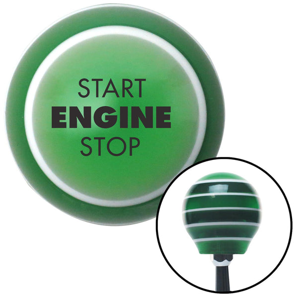 Black Start Engine Stop Green Stripe Shift Knob with M16 x 15 Insert - American Shifter - Dropship Direct Wholesale