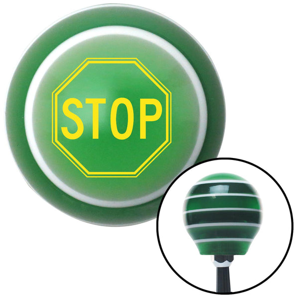 Yellow Stop Sign Green Stripe Shift Knob with M16 x 15 Insert - American Shifter - Dropship Direct Wholesale