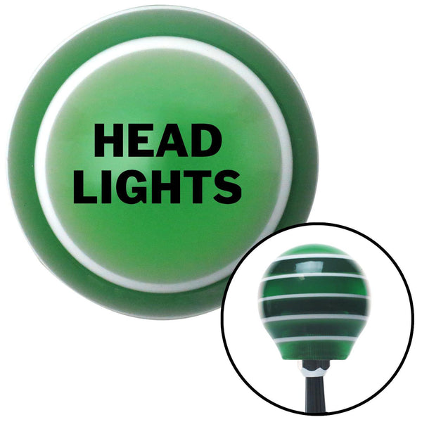Black Head Lights Green Stripe Shift Knob with M16 x 15 Insert - American Shifter - Dropship Direct Wholesale